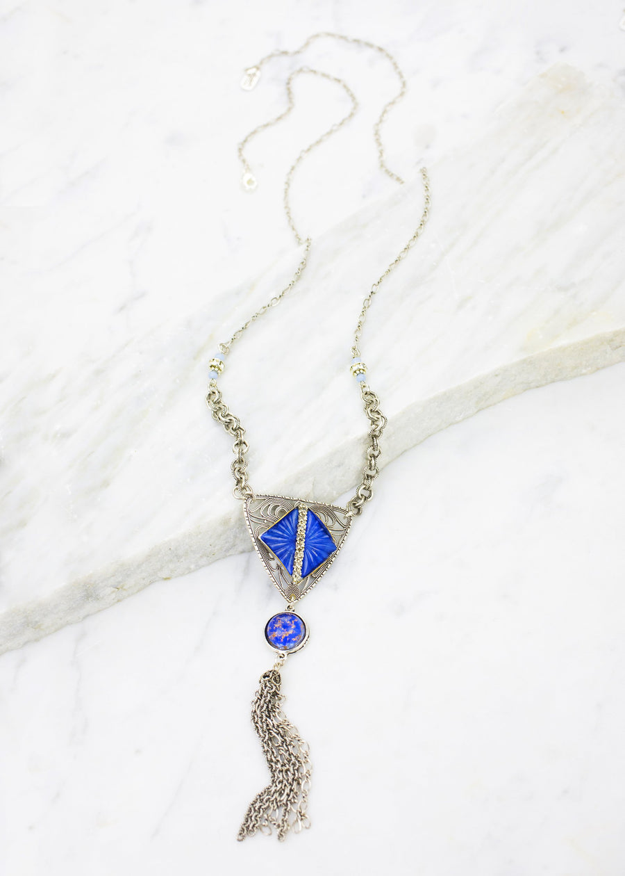 Deco Vintage Glass Long Necklace