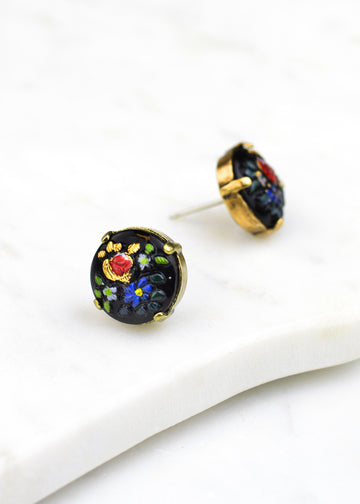 Floral Glass Post Earrings