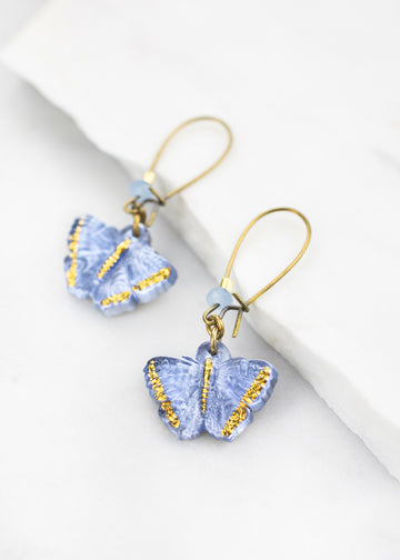 Glass Butterfly Drop Earrings