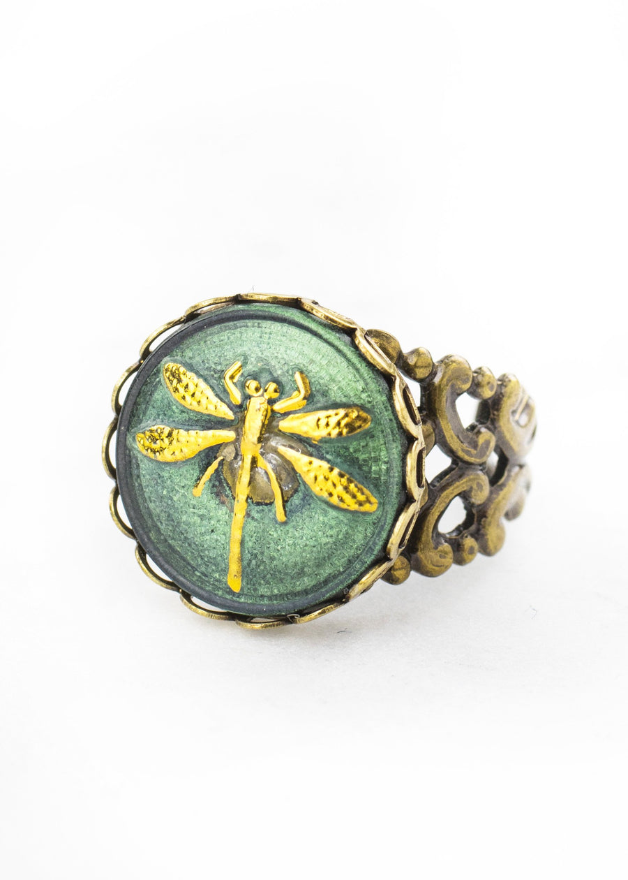 Glass Dragonfly Ring