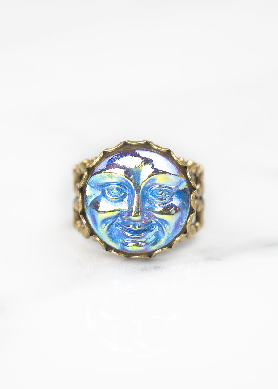 Iridescent Man Moon Czech Glass Ring