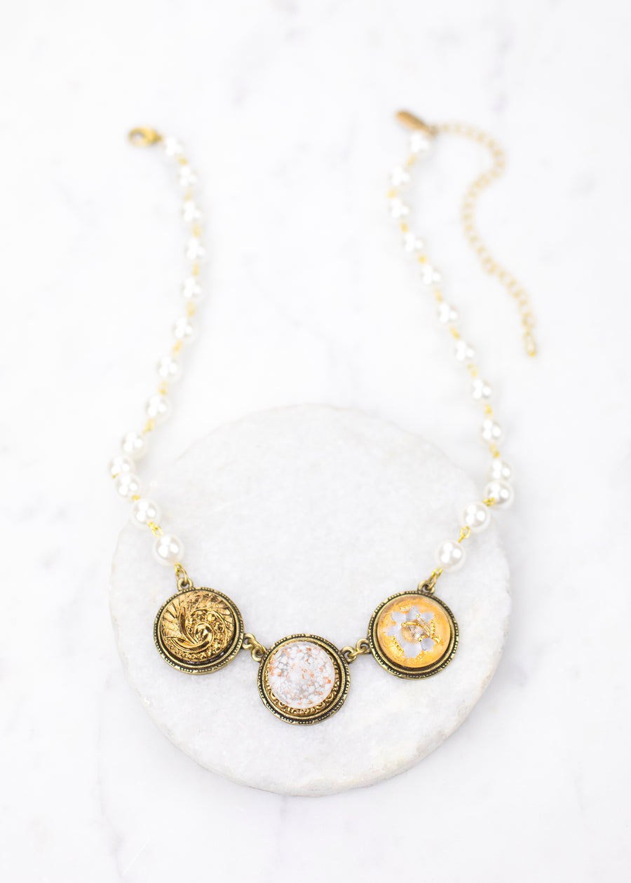 Necklace-Pearl and Vintage Glass-Grandmother's Buttons
