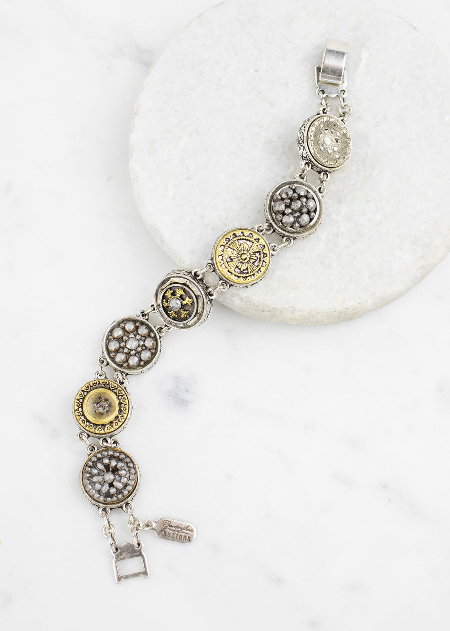 Silver Antique Button Bracelet