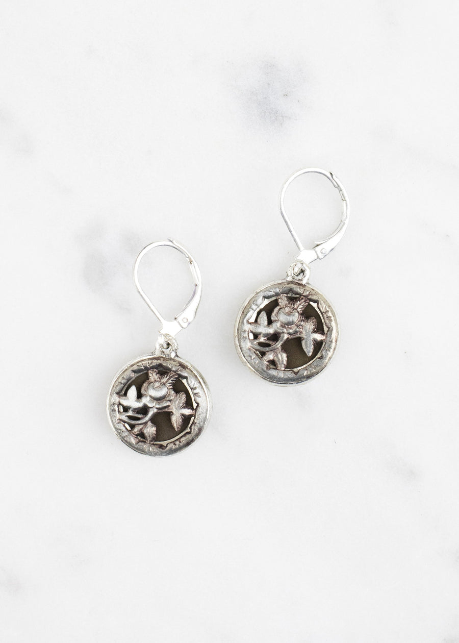 Silver Antique Button Drop Earrings