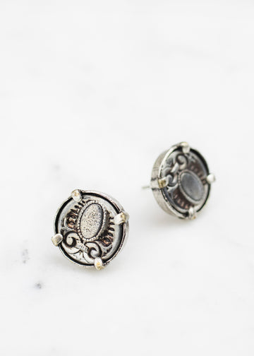 Handmade Post Earrings - Two Antique Victorian-Era Buttons