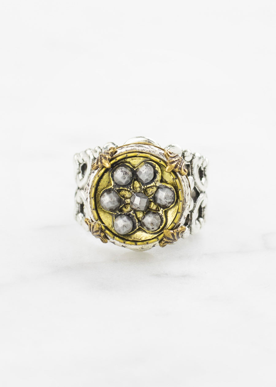 Silver Antique Button Ring