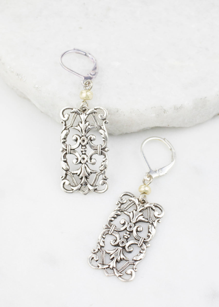 Earrings - Silver Filigree Stampings Made in USA