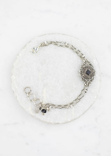 Bracelet - Silver and Black Vintage Glass