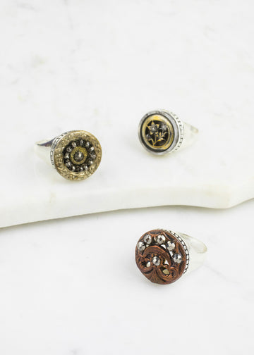 Sterling Silver Antique Button Ring