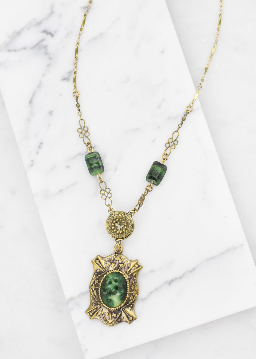 Victorian Antique Button and Glass Necklace