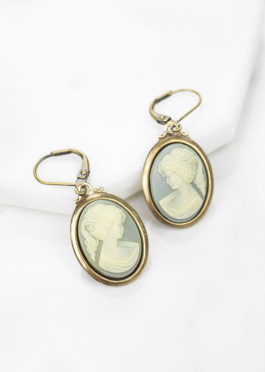 Dangle Earrings-Vintage Resin Cameos-Grandmother's Buttons