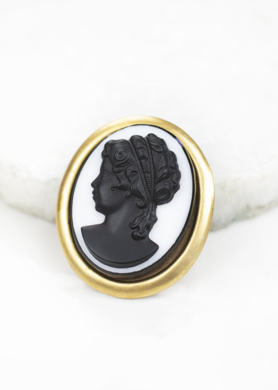 Cameo Brooch - Black and Gold Czech Glass -Handmade in Louisiana
