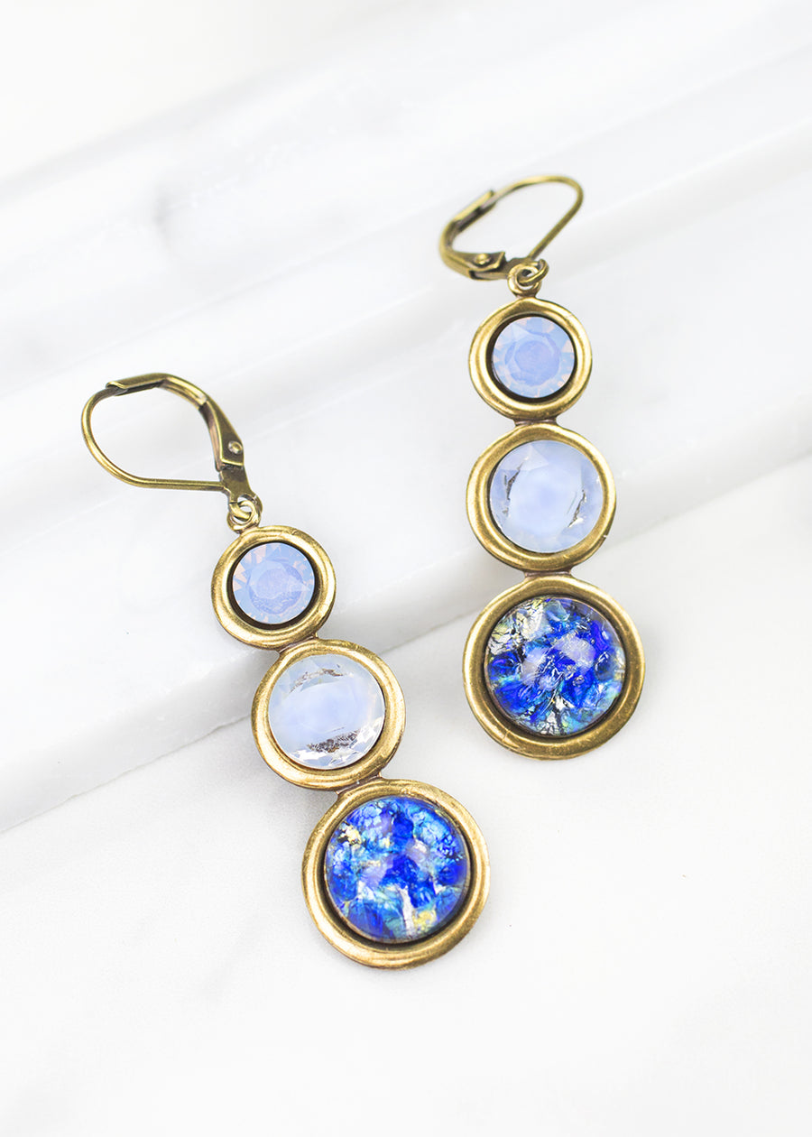 Dangle Earrings-Vintage Glass-Grandmother's Buttons