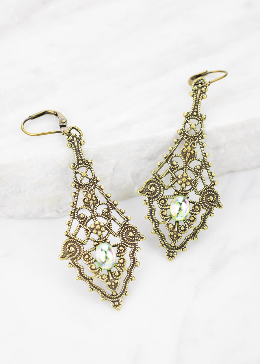 Vintage Glass Filigree Earrings