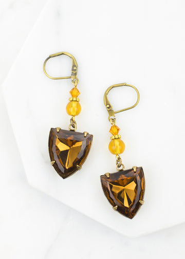 Vintage Glass Shield Earrings