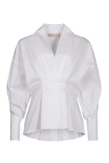 Charlotte White Blouse with Deep Cuffs