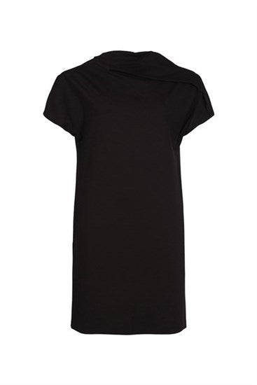 Black Asymmetric Neck Dress