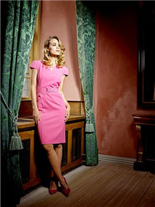 Hot Pink Belted Shift Dress