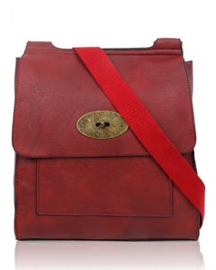Burgundy Flap Over Messenger Bag With Metal Clasp