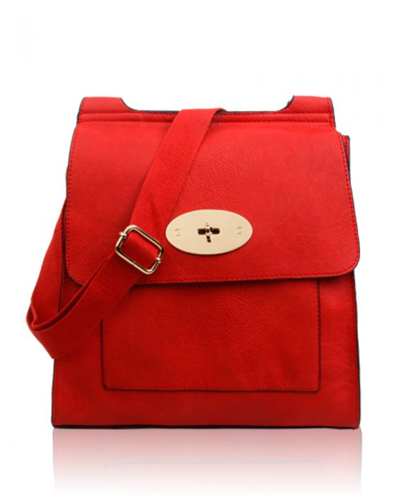 Red Flap Over Messenger Bag With Metal Clasp