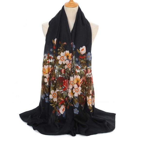 Designer Inspired Black flower scarf