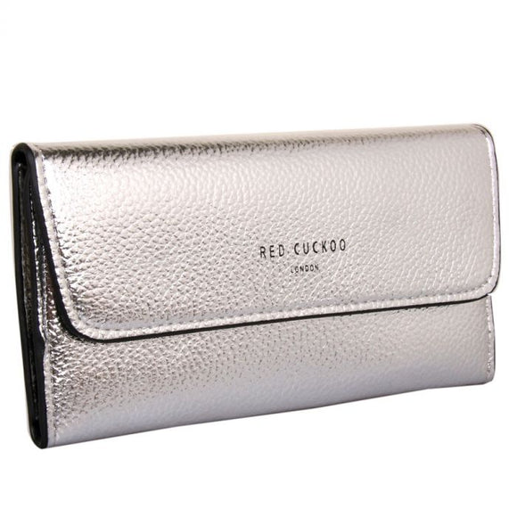 SILVER - Silver Metallic Fold Over Purse