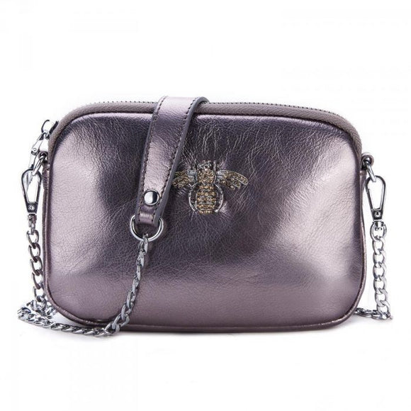 Crystal Bee Pewter leather pouch