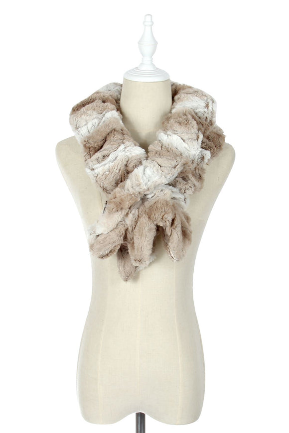 Beige Wide Furry Ruffle Pull Through Scarf