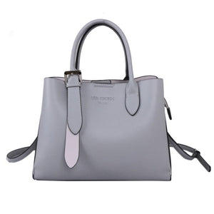 Grey Tote Bag with Silver Buckle