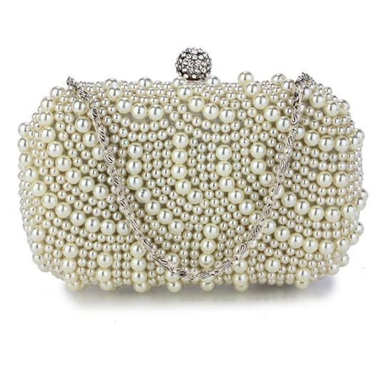 Ivory Beaded Pearl Clutch