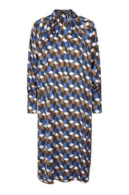 Mix Print High Neck Blue Dress with Belt