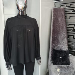Black High Neck Smock Blouse