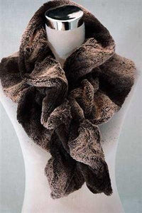Brown/Pink Wide Furry Ruffle Pull Through Scarf