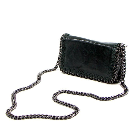Green leather vintage effect clutch bag with shoulder chain