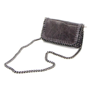 Grey leather vintage effect clutch bag with shoulder chain