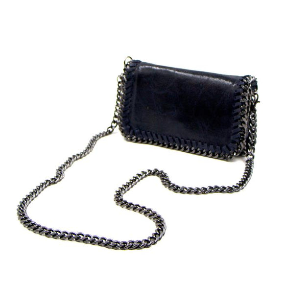 Navy leather vintage effect clutch bag with shoulder chain