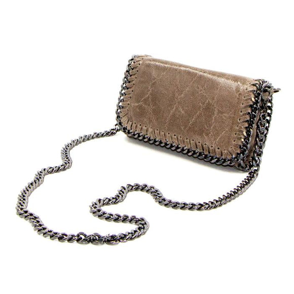 Taupe leather vintage effect clutch bag with shoulder chain