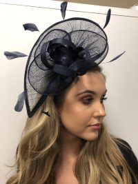 Navy Fascinator with Feathers