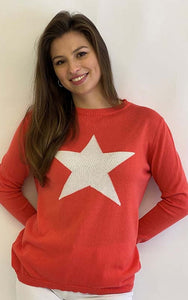Cotton Star Jumper Coral/Ivory