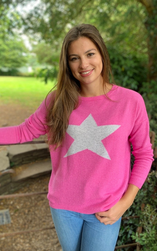 Classic Star Jumper Hot Pink/Silver