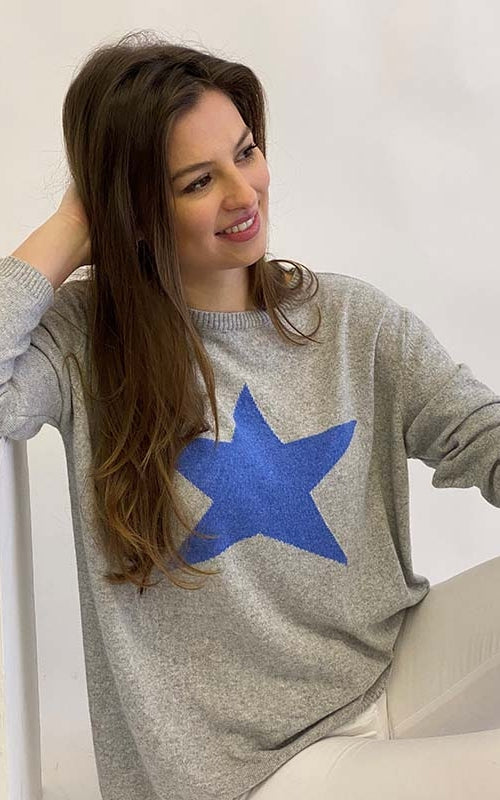 Classic Star Jumper Silver/Sea Blue
