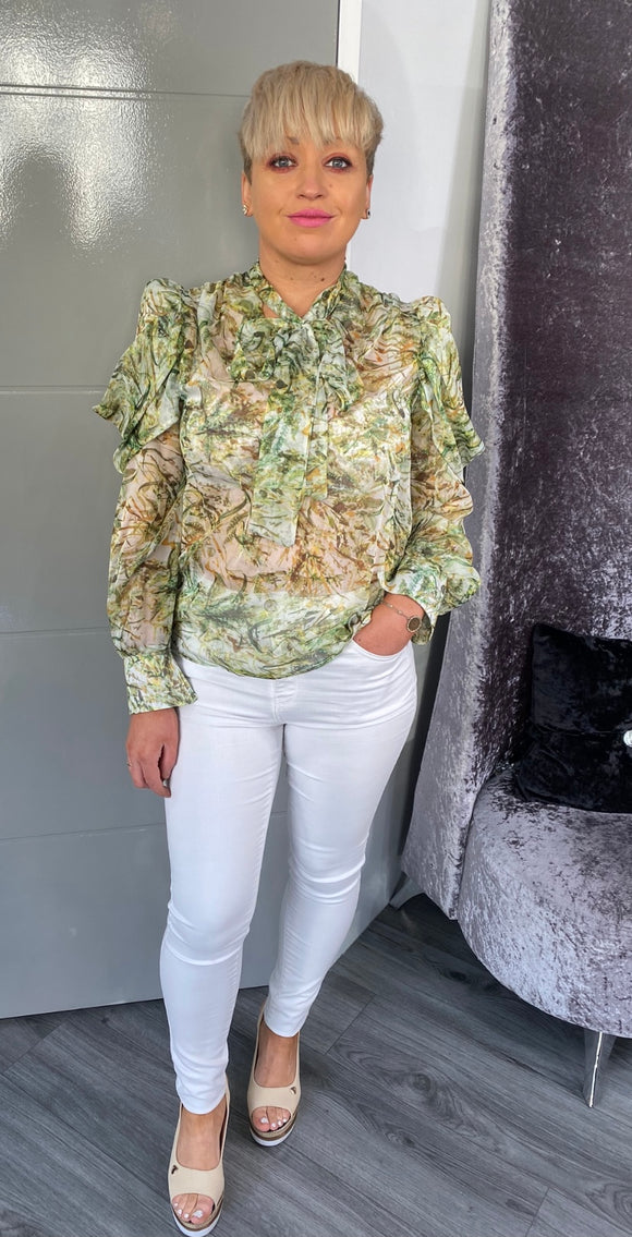 Green Pussy Bow Blouse