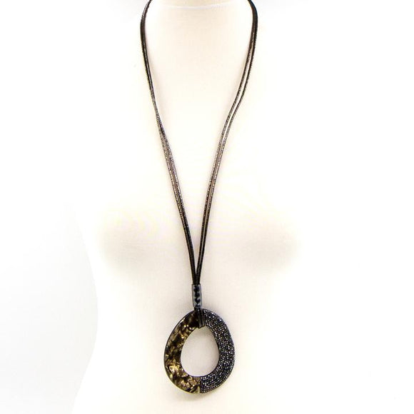 OPEN DROP SHAPED LONG RESIN NECKLACE WITH GUN ENCRUSTED CRYSTAL