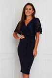 Reagan Lace Wrap Belted Midi Dress Navy