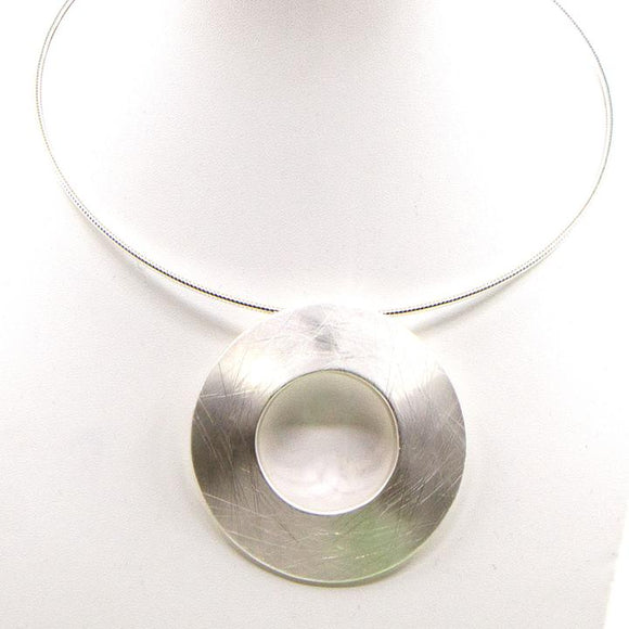 OPEN RING PENDANT NECKLACE ON TORQUE STYLE NECKLACE