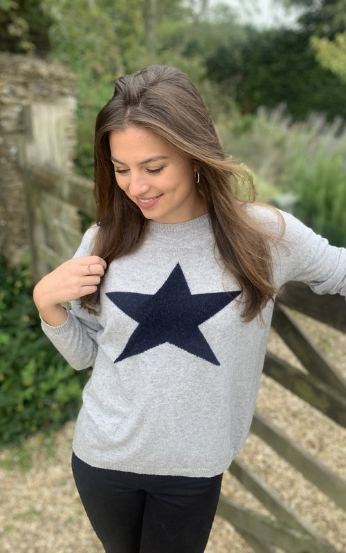 Classic Star Jumper Silver/Navy