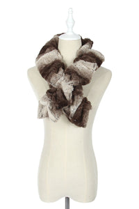 Brown Wide Furry Ruffle Pull Through Scarf