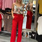 High Waisted Red Trousers