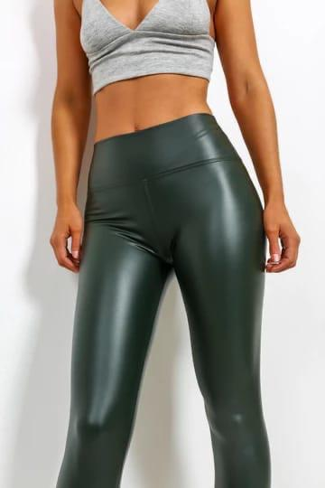 Gina PU High Waisted Green Leggings