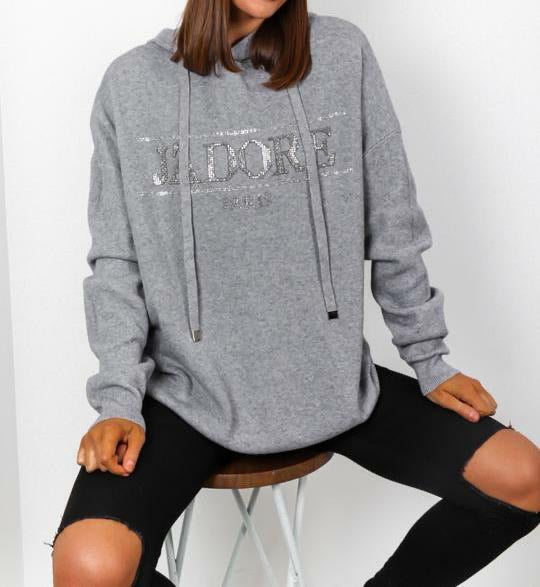 Grey hooded J'adore jumper
